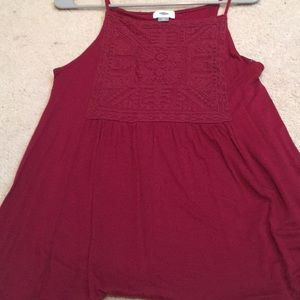 burgundy cami with detailing
